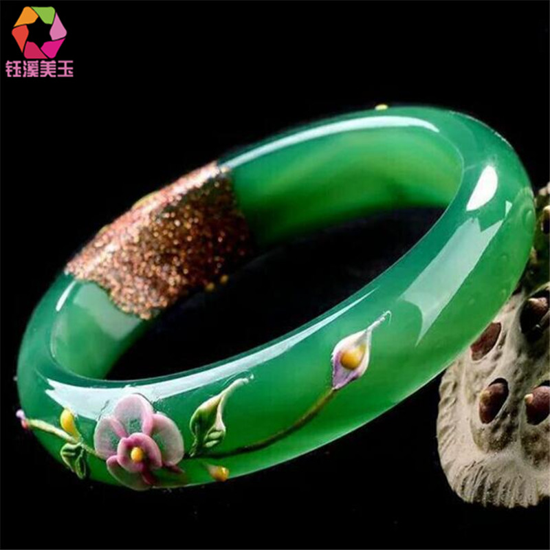 Natural Green Bracelets Colored Drawing Peacock and Flower Bracelets Bangles Gift For Women Jades Jewelry
