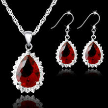 Classic Water Drop Red Crytsal Pendant Necklace Earrings Set For Wedding Women 925 Sterling Silver Bridal Jewelry Sets(China)