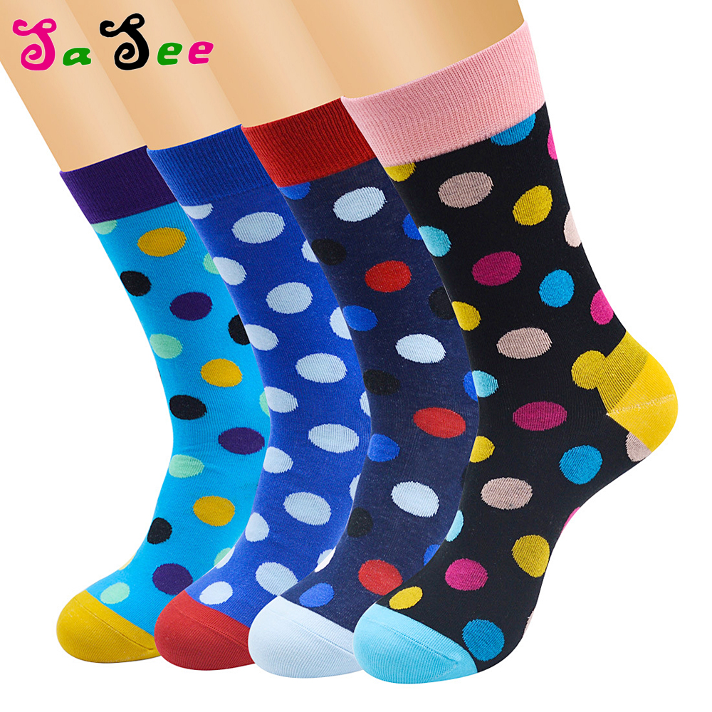 2pairs High Quality Happy Funny Men Sock Dot Style Unisex Skateboard Cotton Socks Art Colored Combed Colorful Cotton Crew Socks