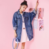 Women Denim Jacket Fahion Style Distrressed Vintage Long Jeans Outerwear Girls Ripped Hole Spring Autumn Winter