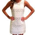 Женщины Лето Dress 2017 Мода Повседневная Крючком Кружева Шить Без Рукавов Белый Dress Элегантный Тонкий Партия Мини Dress Vestidos