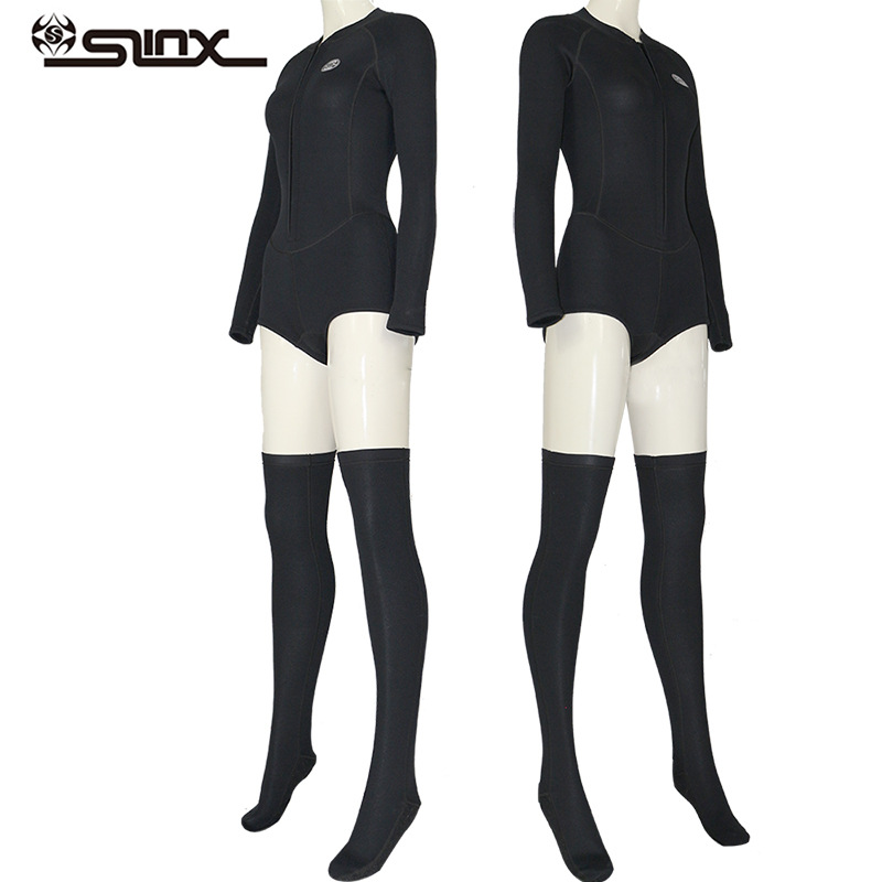 Slinx Womens 2Mm Spring Wetsuit With Long Socks Bikini Cut Springsuit Long Sleeve Front Zip -5126