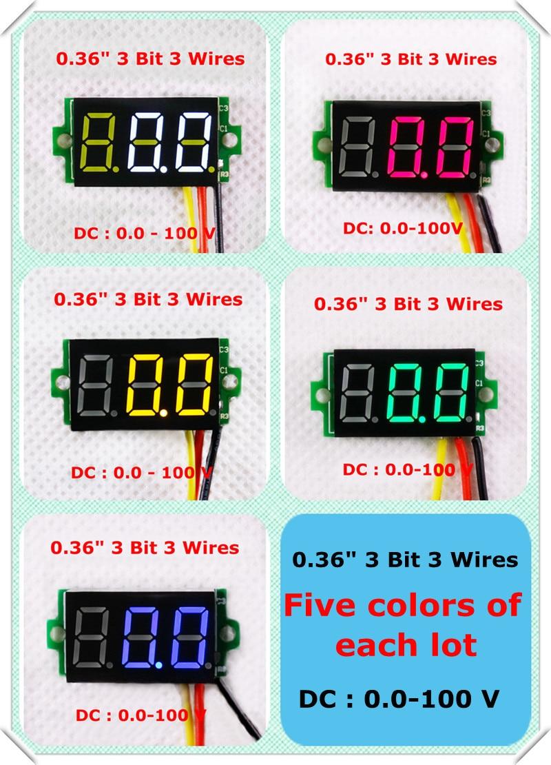 Rd Merah Biru Hijau Kuning Putih Warna Led Display Dc 0 100 V 036 Voltmeter Ammeter 100v 10a Dan Dengan Dual Digital 3 Kawat Bit Voltage Panel Meter 10 Pcs Lot Di Meteran Volt Dari