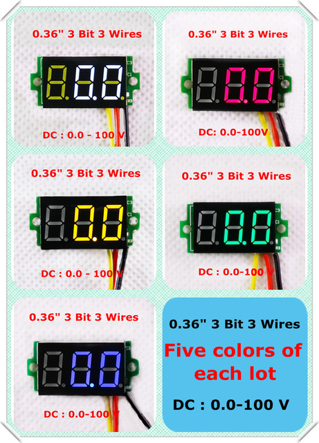 rd red blue green yellow white color led display dc 0 100v 0 36 rh aliexpress com 86 Blazer 24 Volt Charging System Wiring Diagram Ammeter Gauge Wiring Diagram