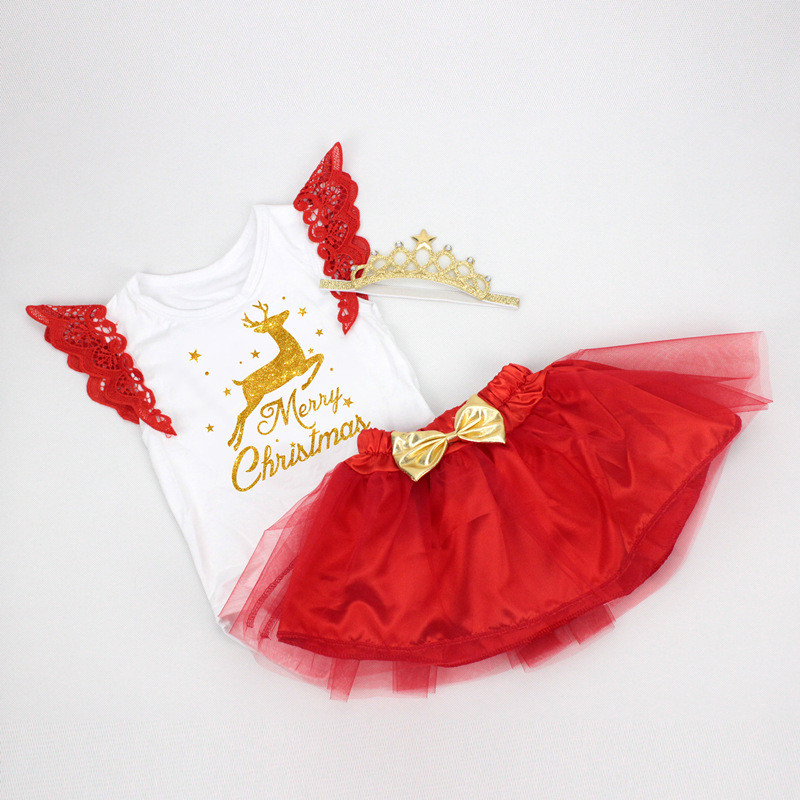 22c6e808a Baby First Christmas Clothes Sets Fly Sleeve Letter Tutu Dress ...
