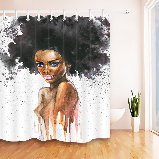 Lb Waterproof Watercolor African American Afro Y Art Shower Curtain Woman Polyester Bathroom Curtains Fabric