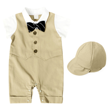 AmzBarley Baby boy clothes set + hat Newborn Boy suit Cotton Romper boy suits formal gentleman Bow tie infant boy Autumn clothes стоимость