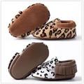 2016 Nova venda quente de Couro Genuíno Mocassins Sapatos de leopardo Do Bebê gilrs Sapatos meninos Recém-nascidos Do Bebê primeira walker Shoes Infantil marrom