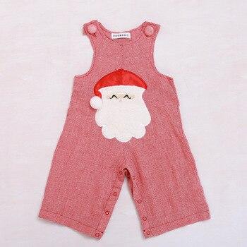 4 sets Doomagic Baby Sleeveless Santa Claus Bodysuit for Boy Christmas Bodysuit Baby Wear for Xmas