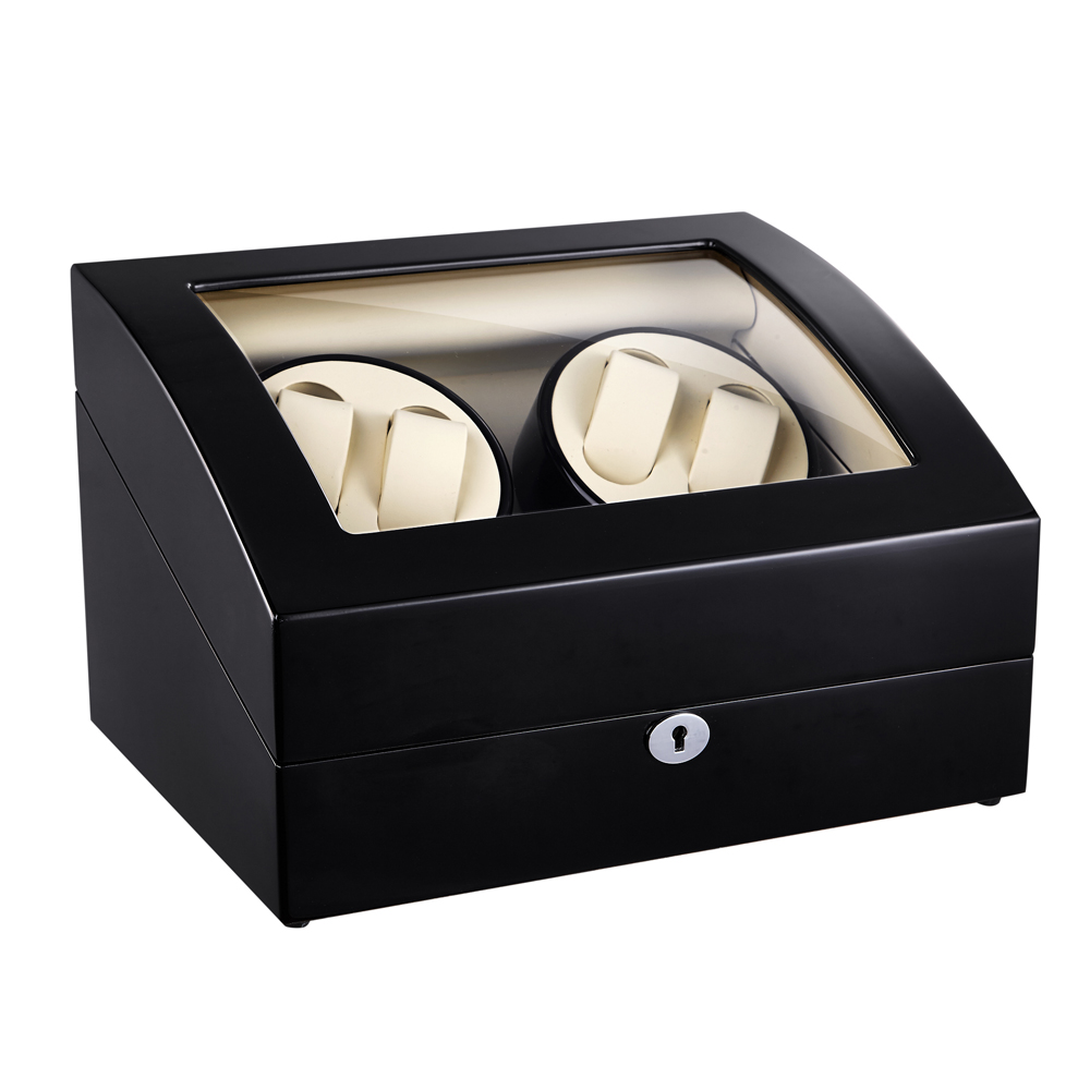 Watch Winder ,LT Wooden Automatic Rotation 4+6 Watch Winder Storage Case Display Box (Outside is black and inside is white) 2016 latest luxury 5 modes german motor watch winder yellow spray paint wooden white pu leater inside automatic watch winder