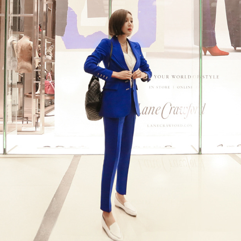 New 2019 Women's Business Office Suit And Pants Set Slim High Quality Blue Suit Jacket Female Two-piece Fashion Pants