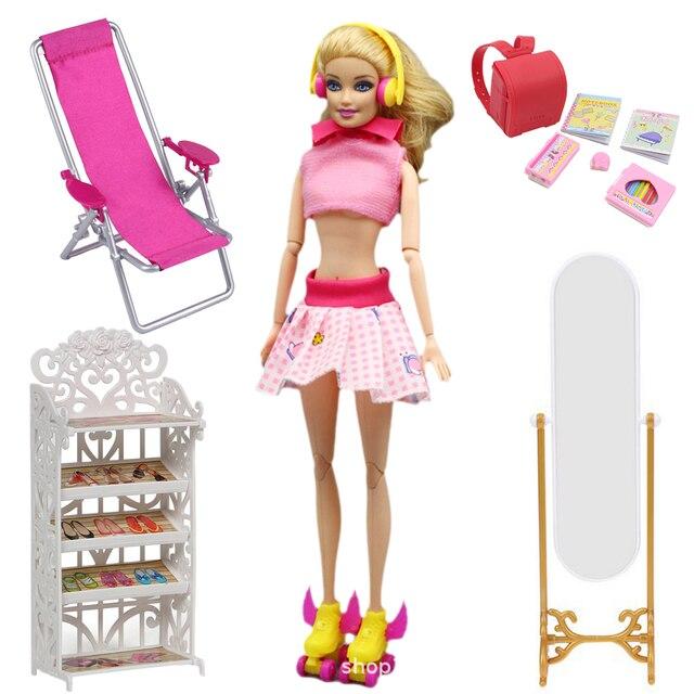 Hot Moda Casa De Bonecas Boneca Acessórios para Barbie Doll Saco Mochila Patins Sapato Rack de Cadeira de Praia Roupas Sofá Titular Estande BJD