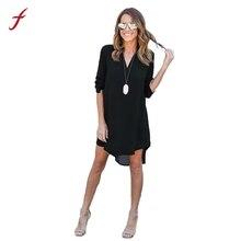 Для женщин Blusa шифон Платья Длинные рукава Mujer Повседневное модное платье недорогая одежда из Китая плюс Размеры женский Платья для женщин 2017