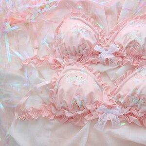 Image 4 - Conjunto de ropa interior con volantes y lazo de encaje, sujetador sin aros, Sexy, japonés, rosa, My Melody