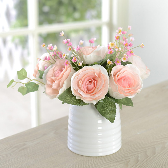 New hot vivid autumn artificial rose fake flower posy home hotel new hot vivid autumn artificial rose fake flower posy home hotel room bridal pink flowers for mightylinksfo