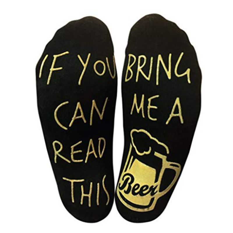 Men <font><b>Unisex</b></font> House Floor Short Over <font><b>Ankle</b></font> Boat <font><b>Socks</b></font> Anti-Skid Rubber Funny Humor Words Printed Sole Combed <font><b>Cotton</b></font> Beer Hosiery image