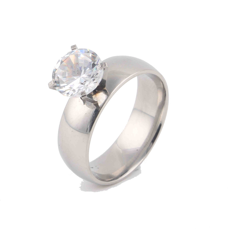 Womens Stainless Steel Classic Clear Round Clear Zircon Inlay Polish Band Wedding Engagement Ring Bridal