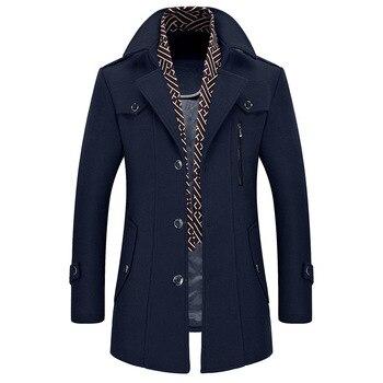 2019 Winter Wool Coat Men Slim Jacket Mens Fashion Outerwear Warm Male Casual Jackets Overcoat