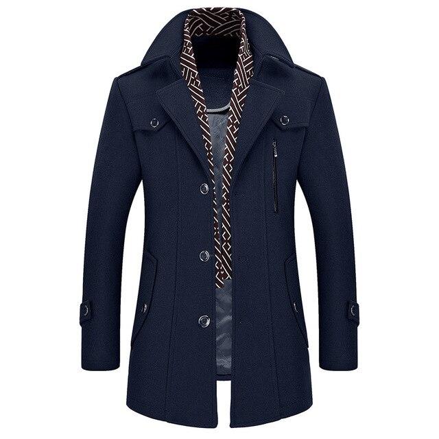 7f44b7a1b87ef Abrigo de lana de invierno para hombre chaqueta delgada para hombre ropa de  abrigo de moda