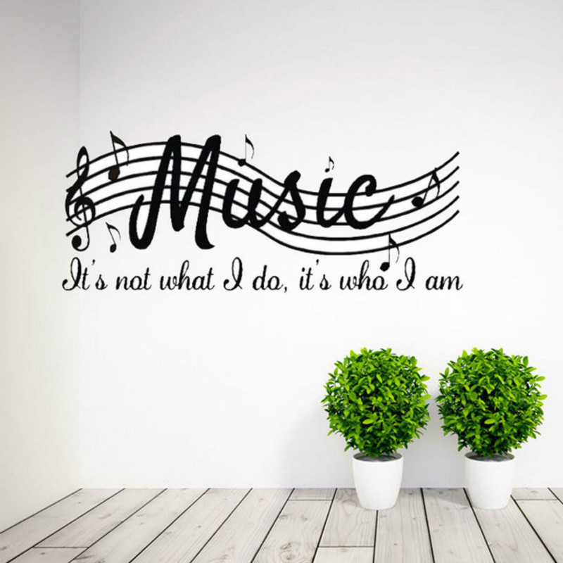 New Design Removable Wall Stickers MUSIC IS NOT Musical Notes Room Decorations art Vinyl Wall Quotes Decals Decor Sticker image