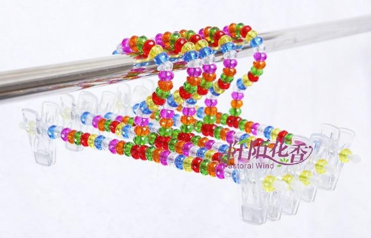 5ks / lot 30cm Dospělí Kalhoty klip Věšáky na oblečení Pearl Plastové Klipy Složka Barevné Křišťálové Růžové Podprsenky