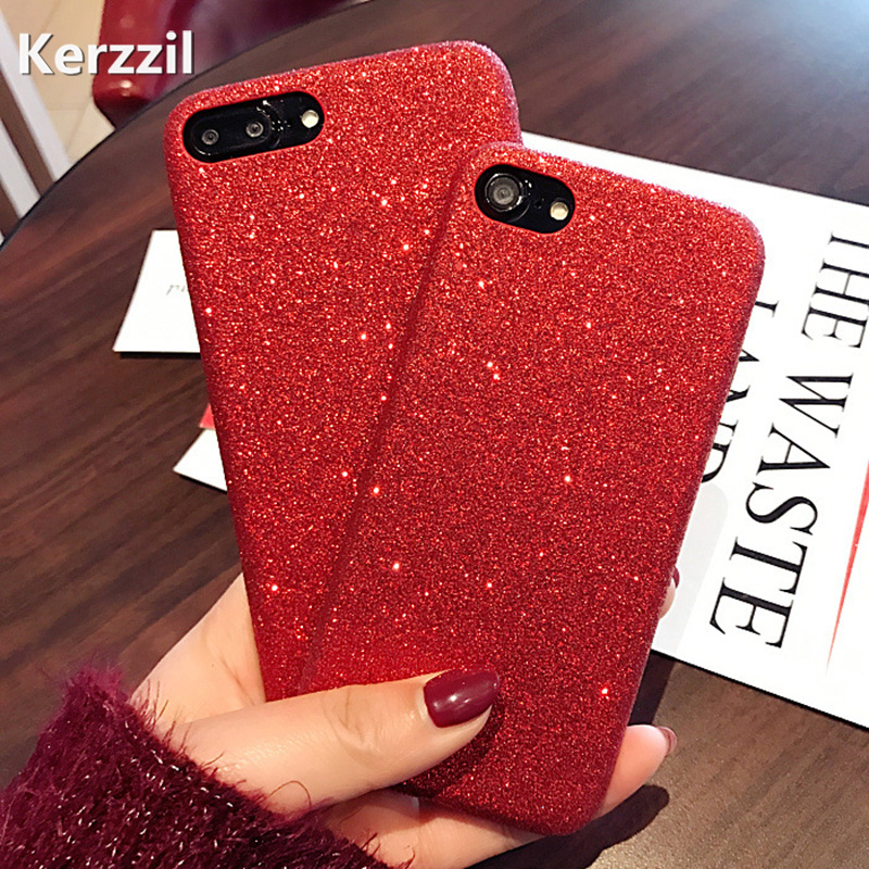 Kerzzil Bling Glitter Shining Red PU Leather Soft Case For