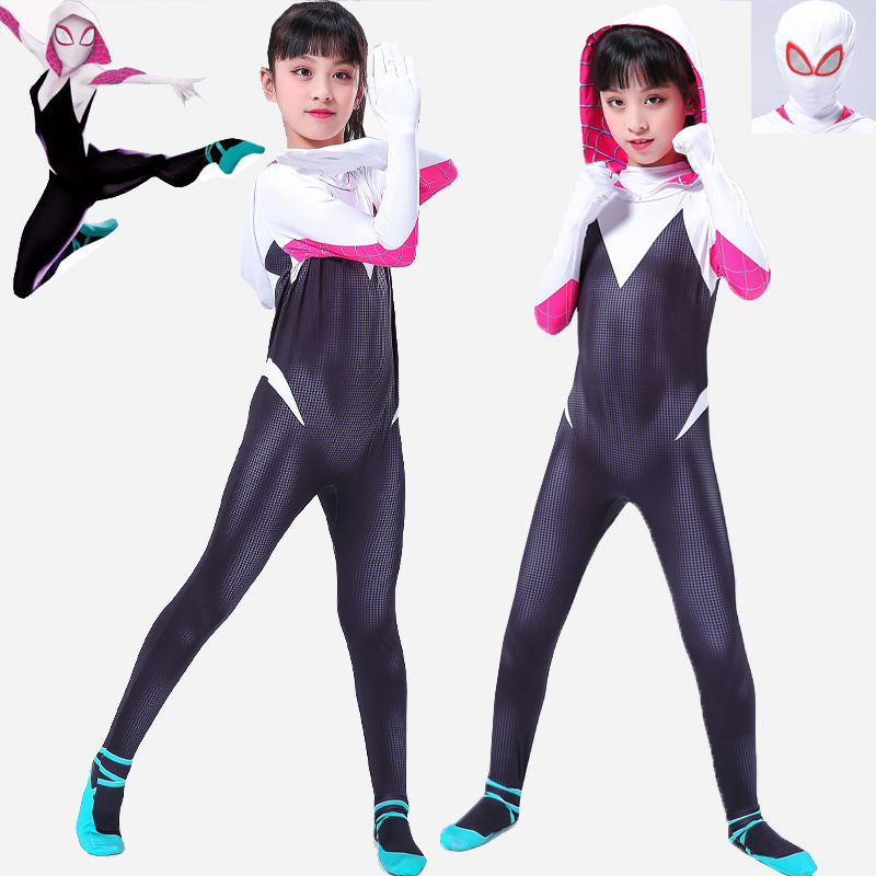 Movie Venom Spider Man Into the Spider-Verse Gwen Cosplay Costumes Adult Kids Jumpsuit 3D Printed Anti-Venom Halloween Outfit