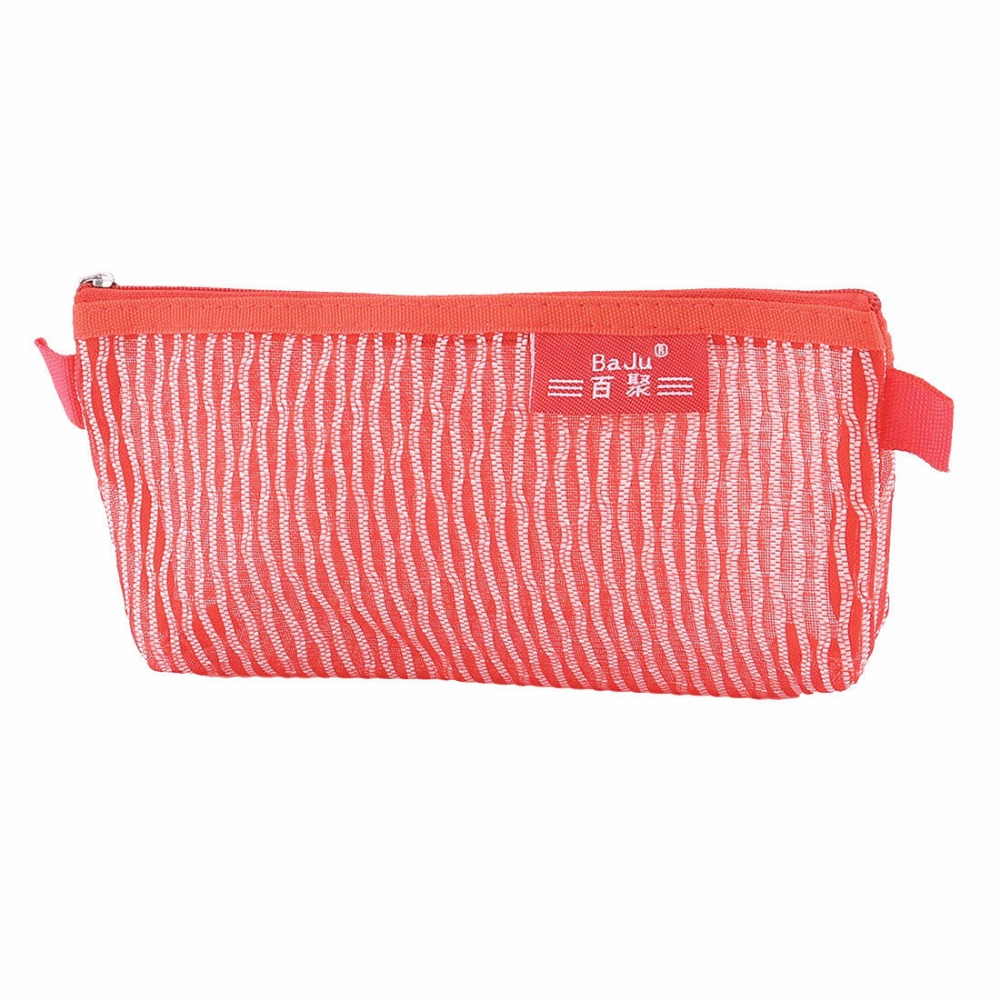 1 PCS School Nylon Meshy Zippered Pen Pencil Bag Holder For Children Pouch Red