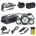 5000 Lumen Bicycle Light 1x XM-L T6 White+2x R2 Red LED 3Modes Headlight Headlamp Flashlight Head Torch+EU/US Charger& Battery