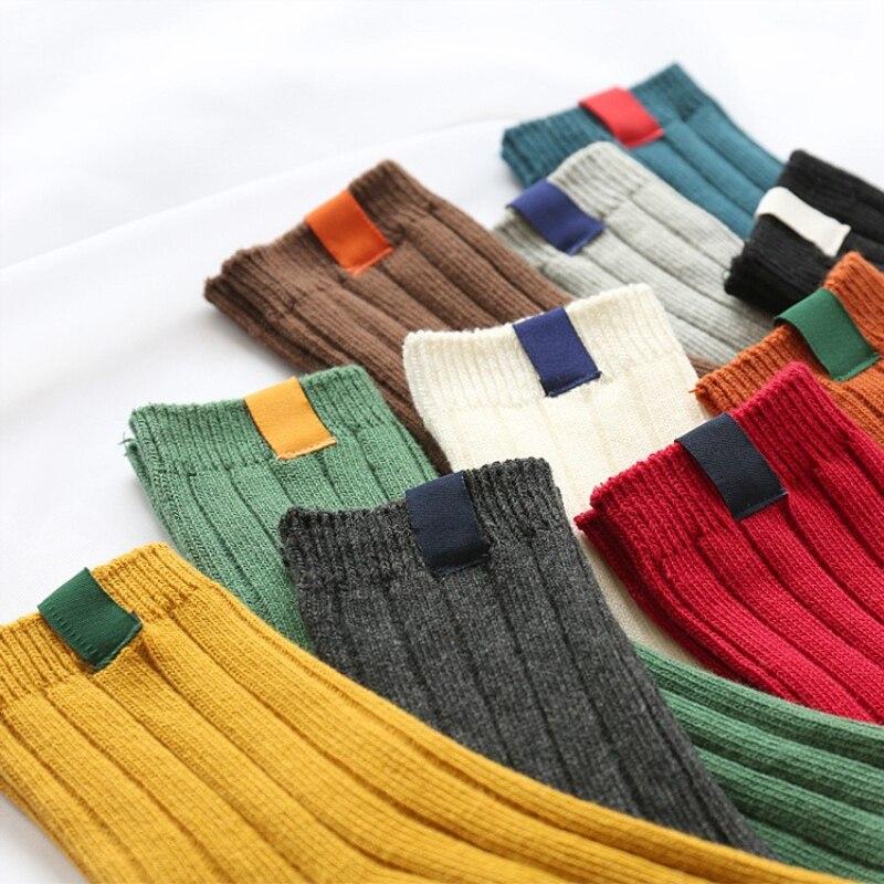 women   socks   spring1 pair long   socks   school style cotton solid color women fashion Retro crew   socks   for women
