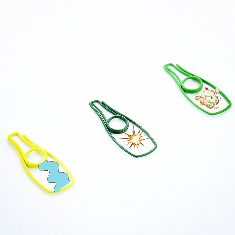 TUTU 9PCS/LOT Beer Bottle Shape Paper Clips Yellow Green Color Funny Kawaii Bookmark Office School Stationery Marking Clip H0119