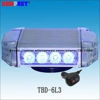 Free shipping!TBD 6L3 High quality Blue LED mini lightbar,police warning light, Emergency ambulance Car Flashing warning light
