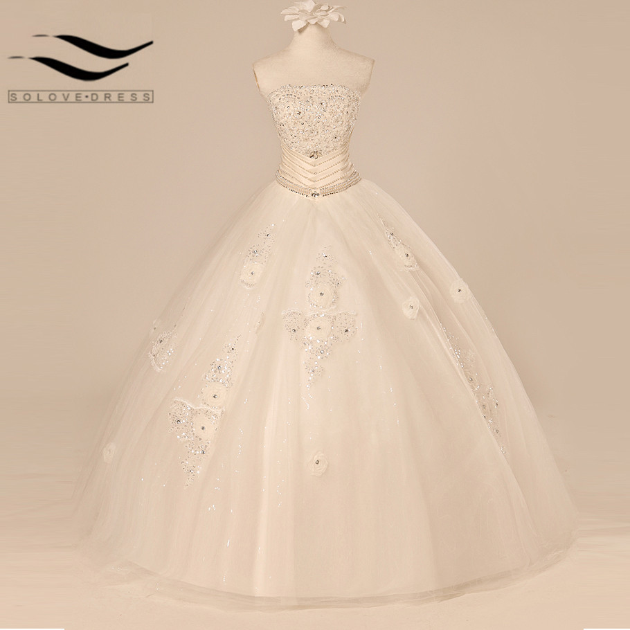 New Srtapless Real Vestido De Noiva Luxury Crystal Lace Up Back Bandage Ball Gowns Bridal Bride Criss-Cross Wedding Dresses