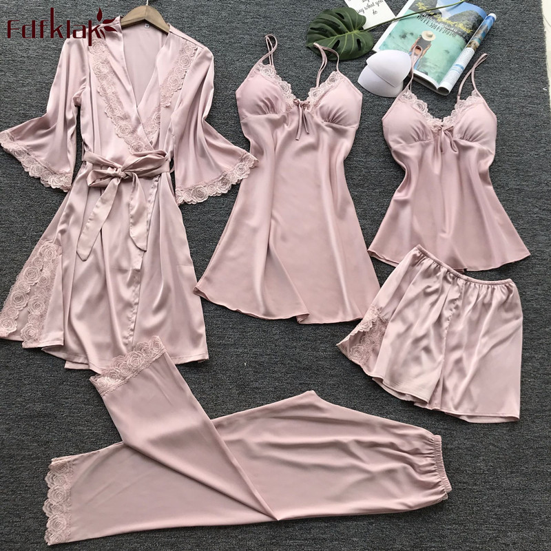 Fdfklak New sexy 5 pieces women's   pajamas     set   silk satin pyjamas women lace spring autumn   pajamas   for women pijama mujer