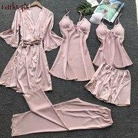 Fdfklak New sexy 5 pieces women's pajamas set silk satin pyjamas women lace spring autumn pajamas for women pijama mujer