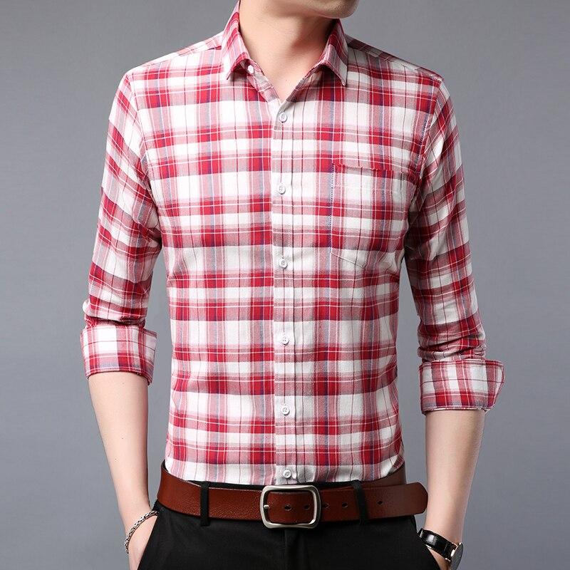 2e41aa2a12e Для мужчин с длинным рукавом рубашка Slim fit 2019 новые весенние Бизнес  Стиль повседневные мужские рубашки