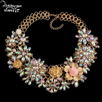 Dvacaman Brand 2016 Big Flower Choker Necklace Women Gold Plated Maxi Necklace Party Wedding Bridal Statement