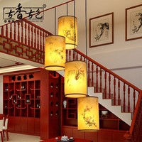 Chinese style Wooden villa 3 antique pendant lights head spiral staircase lamp rotating restaurant long lamp ZH ZS71
