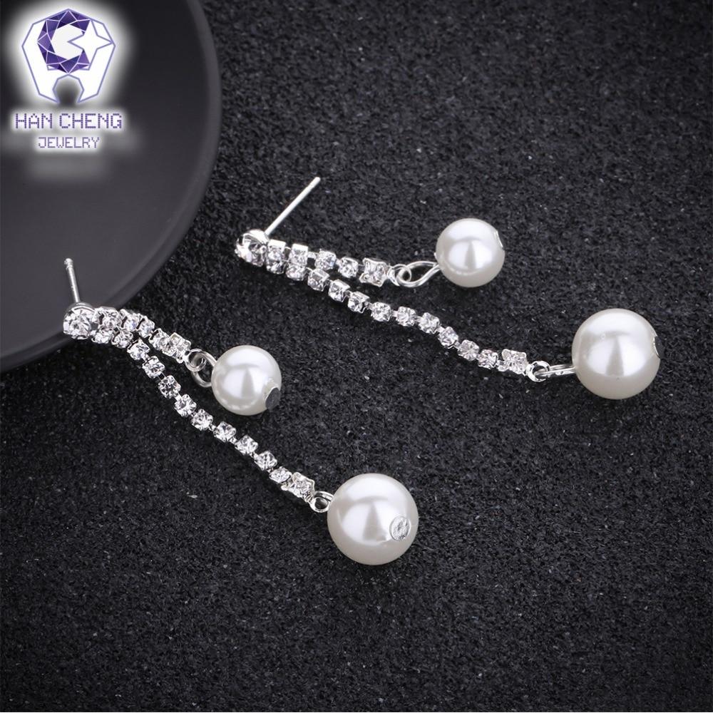 HanCheng New Fashion Silver Plated Nail Dangle Hanging Long Gem ...