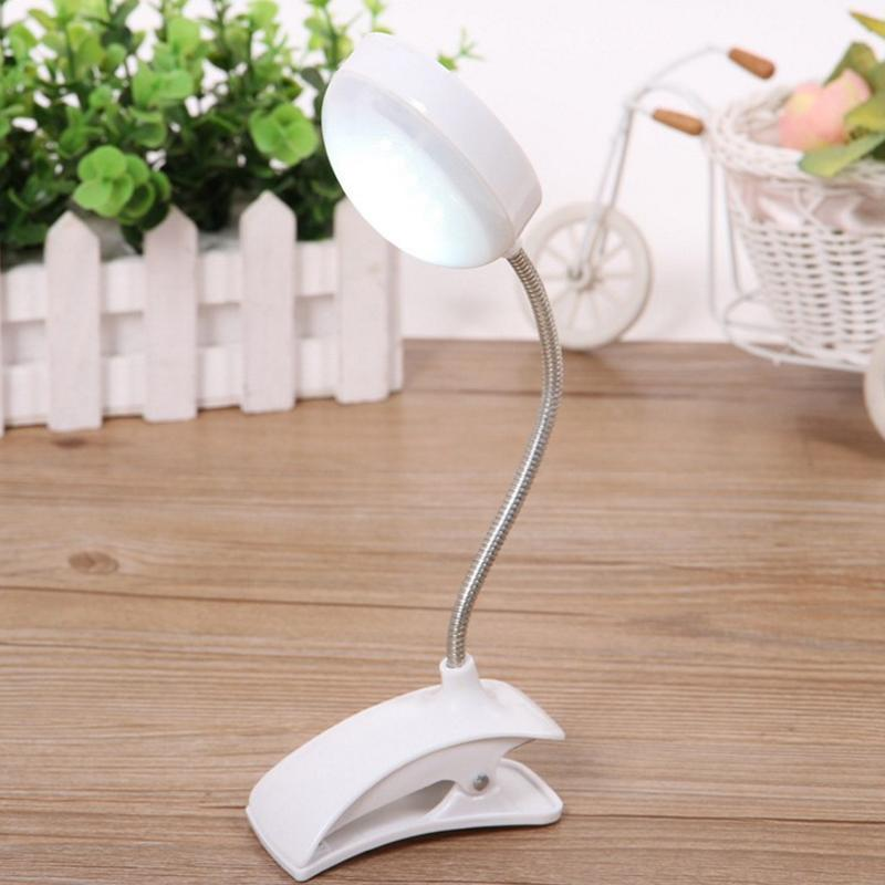 AKDSteel Clip-on Flexible LED Table Lamp Reading Study Bedside Laptop Desk Bright Light Night Light 3AAA Batteries Not Incloud