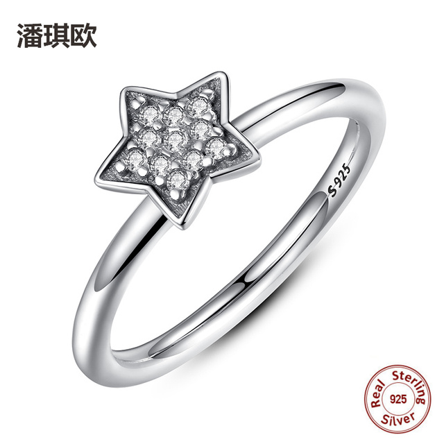 Classic Retro 100 925 Sterling Silver Clear Zircon Star Wedding