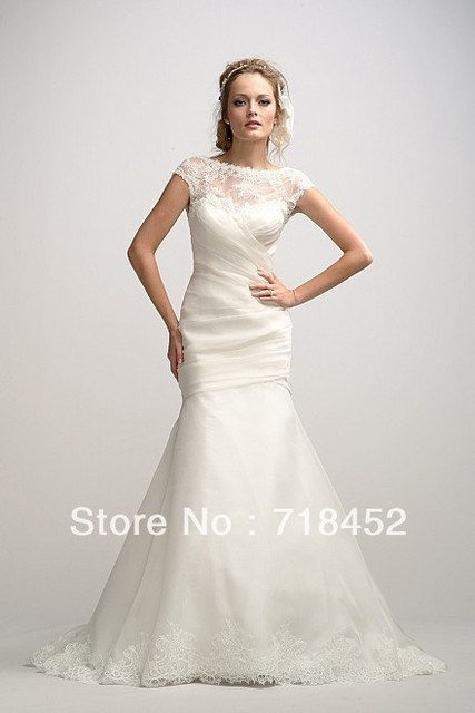 1920s Vintage Wedding Dresses Trumpet High Neck Cap Sleeve Lace V ...