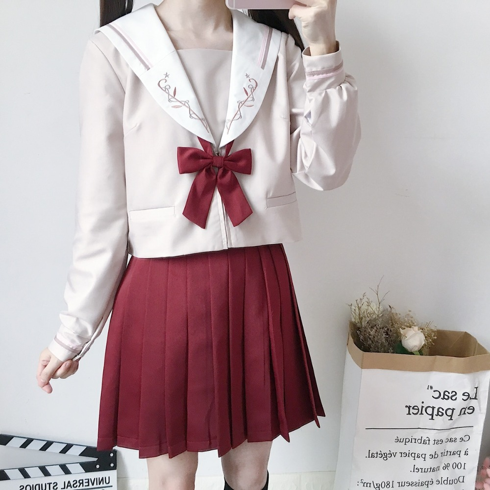 2019 new Japanese school uniforms anime COS sailor suit tops+skirt JK Navy style Students clothes for Girl Long/short sleeve