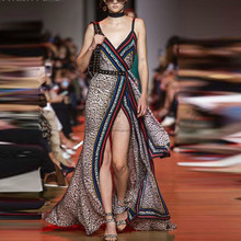 Cuerly High Quality Runway Dress 2019 Summer Sexy V-Neck Leopard print Open Fork Spaghetti Strap Vacation Beach Long