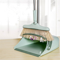 Household Windproof Broom Dustpan Set Foldable Rotatable Sweep Cleaning Not Sticking Hair Non Slip Handle Garbage Shovel Dustbox