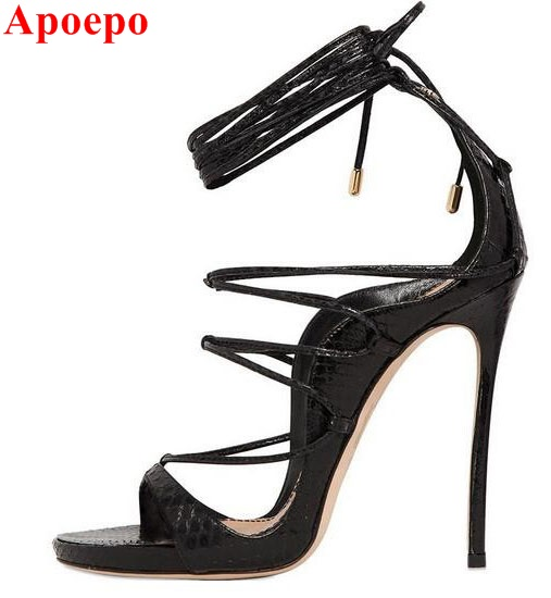 Gladiator Sandals Women High Heels Black Metallic Leather Lace Up Sandals Cross Tied Open Toe pumps ankle straps ladies Shoes
