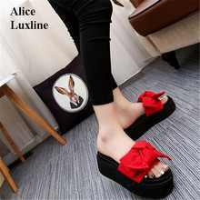 Summer 2017 Red Pink Black Green women Streetwear Bowknot Slippers Slides butterfly open toe gladiator bowtie Flat Shoes Sandals