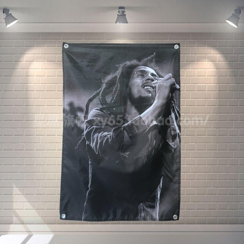 Bob Marley Bannière Musique Rock Band Reggae Jamaïque Décoration Hanging drapeau 4 Gromments dans Les Coins 3 * 5FT 144 cm * 96 cm