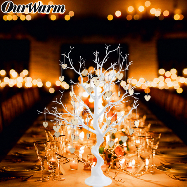 OurWarm White Wedding Centerpiece Artificial Tree Plant Heart Lead Beads Hanging Guest Sign Party Favor Wedding Table Decoration