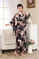 New Arrival Black Japanese Traditional Women Kimono Sexy Silk Yukata With Obi Vintage Evening Dress Flower One Size NK011